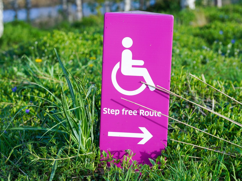 Step Free Route sign on grass :(
